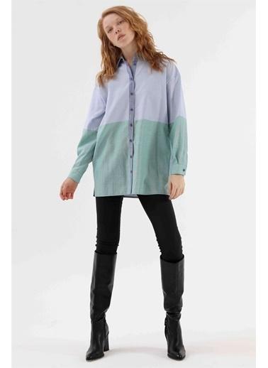 Vivencia Renk Bloklu Kadın Gömlek Hardal  Mavi